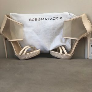 BCBG Ferned High-Heel Mesh-Cuff Sandal